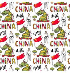china flag karate master and dragon chinese vector image vector image