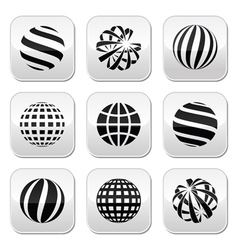 Globe sphere earth buttons set vector image vector image