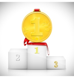 Gold Medal On Pedestal Of Winners vector image