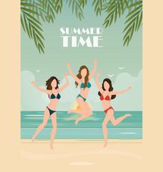 happy bikini woman jumping of joy and success on vector image vector image