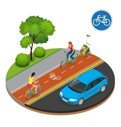 Isometric Bicycle road sign and bike riders vector image
