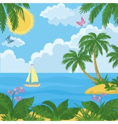 Landscape island with palm trees and ship vector image vector image