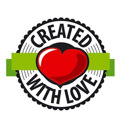 Logo heart made with love vector