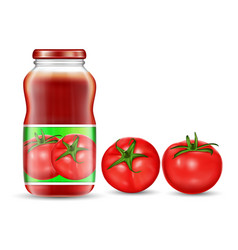 red tomatoes and jars with vector image