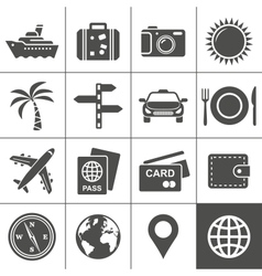 Travel and tourism icon set Simplus series vector image vector image