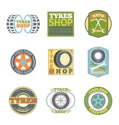 Tyre shop vintage flat badges vector image