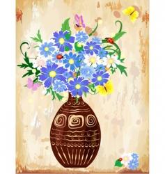 vase wildflowers vector image