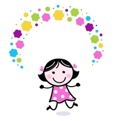 Cute doodle girl juggling with flowers vector image vector image