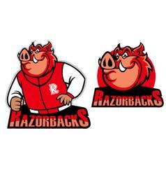 razorback school mascot vector image vector image