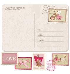 Wedding Invitation - Vintage Postcard with Postage vector image vector image