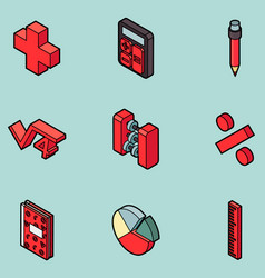 algebra color outline isometric icons vector image vector image