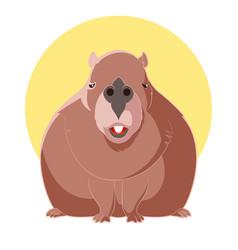 cartoon smiling capybara vector image vector image