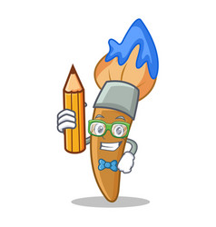 student with pencil paint brush character cartoon vector image