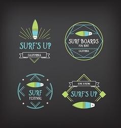 Surf vintage elements Retro logo board Hawaii vector image