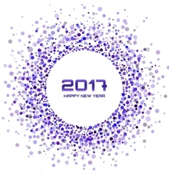 Violet confetti Circle Frame New Year 2017 vector image