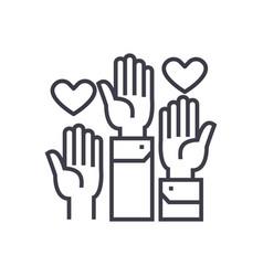 volunteer hands linear icon sign symbol vector image
