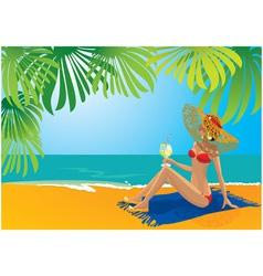 beautiful girl sunbathing vector image