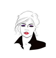 beautiful hand drawn girl with hairstyle fashion vector image vector image