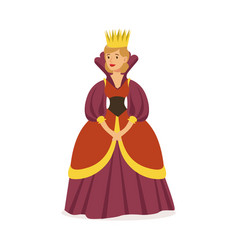 majestic queen in purple dress and gold crown vector image vector image