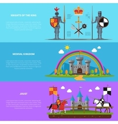 Medieval knights flat horizontal banners set vector image