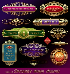 set of golden framed labels vector image vector image