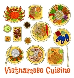 Spicy and refreshing vietnamese dinner sketch icon vector image vector image