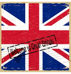 Vintage background with flag of Great Britain vector image vector image