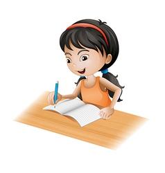 A girl writing vector