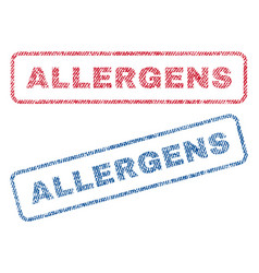 Allergens textile stamps vector