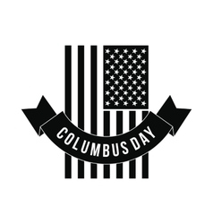 American flag with Columbus Day ribbon vector image