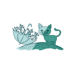Aquamarine hand drawn silhouette of cat in hill vector