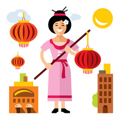 Asian woman with lantern flat style vector