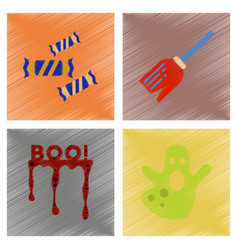 assembly flat shading style icons halloween boo vector image