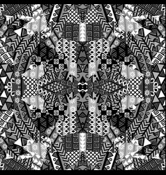 black and white kaleidoscope patchwork background vector image