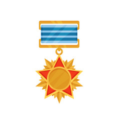 bright golden medal in star shape army reward vector image