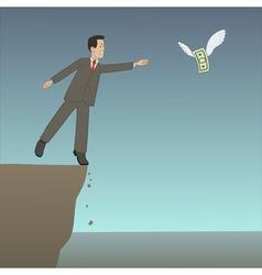 Businessman near the precipice vector
