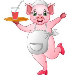 Cartoon happy pig waiter vector