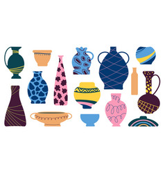 Ceramic vases antique vase ancient pottery icons vector