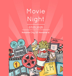 cinema doodle icons poster for movie night vector image