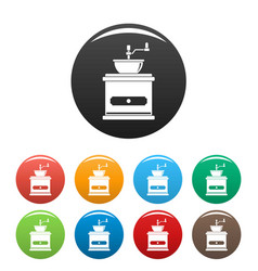 coffee mill icons set color vector image