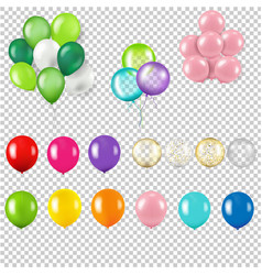 Colorful balloon set isolated transparent vector