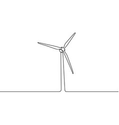 continuous one line wind turbine vector image