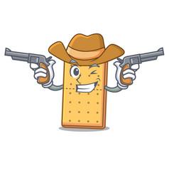 Cowboy graham cookies character cartoon vector