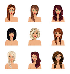 Create change hairstyle choices for girls vector