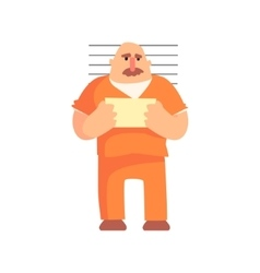 Criminal In Orange Prison Uniform Taking Picture vector