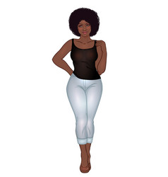 Curvy african american girl in casual wear and vector