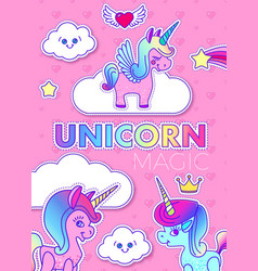 cute greeting cards with magic unicorn vector image