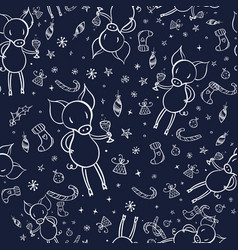 cute pig doodle seamless pattern vector image