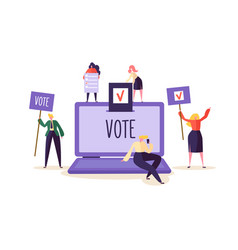e-voting concept characters voting using laptop vector image