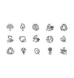 ecology environment line icons set collection vector image